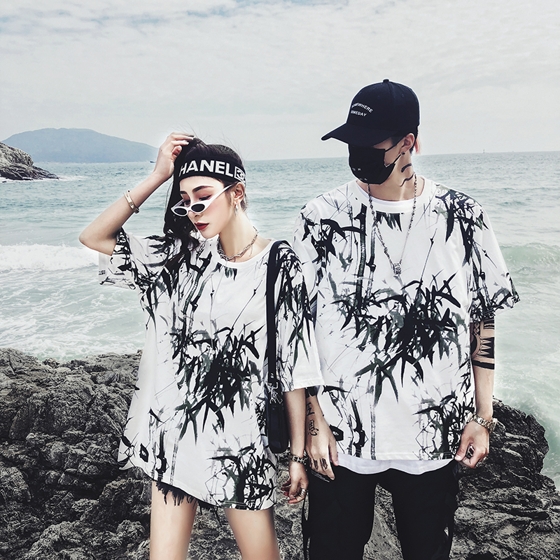 Dropshipping 2019 summer new bamboo splash ink Chinese painting short-sleeved shirt hip-hop oversized couple men women T-shirt 18