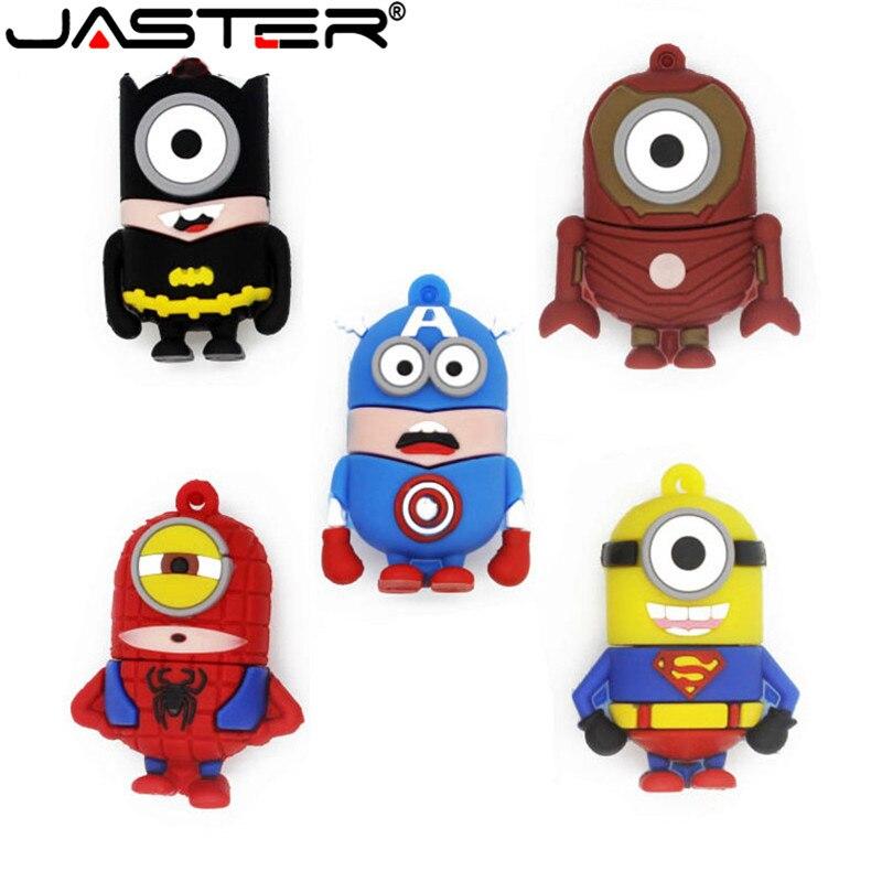 JASTER Minions Memory Stick 32GB/8GB/64GB Pendrive SuperMan SpiderMan Captain American Model USB Flash Drive Pen Drive U Disk