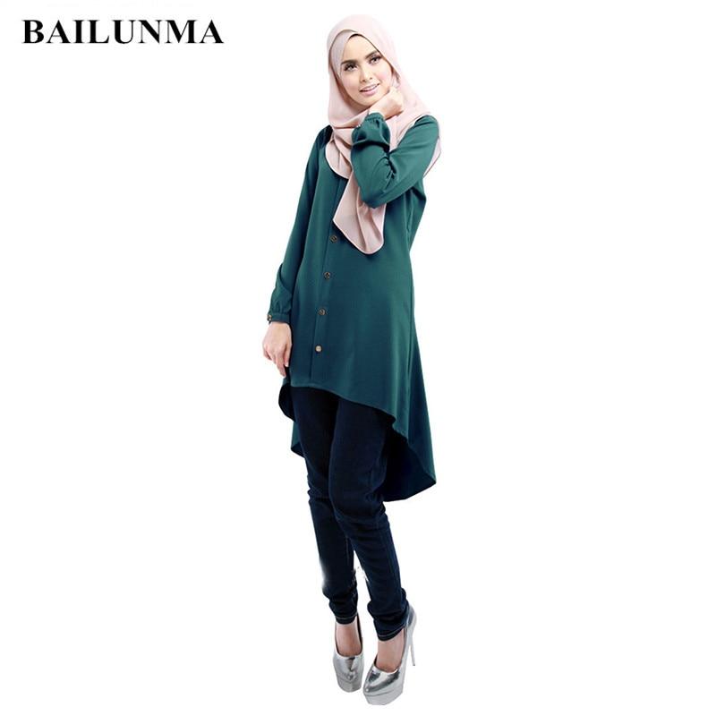 Open Button Long Shirts Muslim Women Arabic Blouses  Chiffon Tops Islamic Blouse Muslim Clothing Women Muslim Shirt B7903