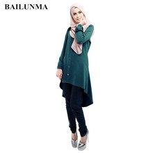 Open Button long shirts muslim women arabic blouses  Chiffon Tops islamic blouse clothing shirt B7903