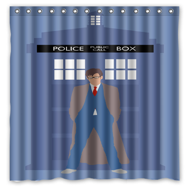 Doctor Who Tardis Blue Police Box Background Waterproof Polyester Shower Bath Curtain 180x180cm