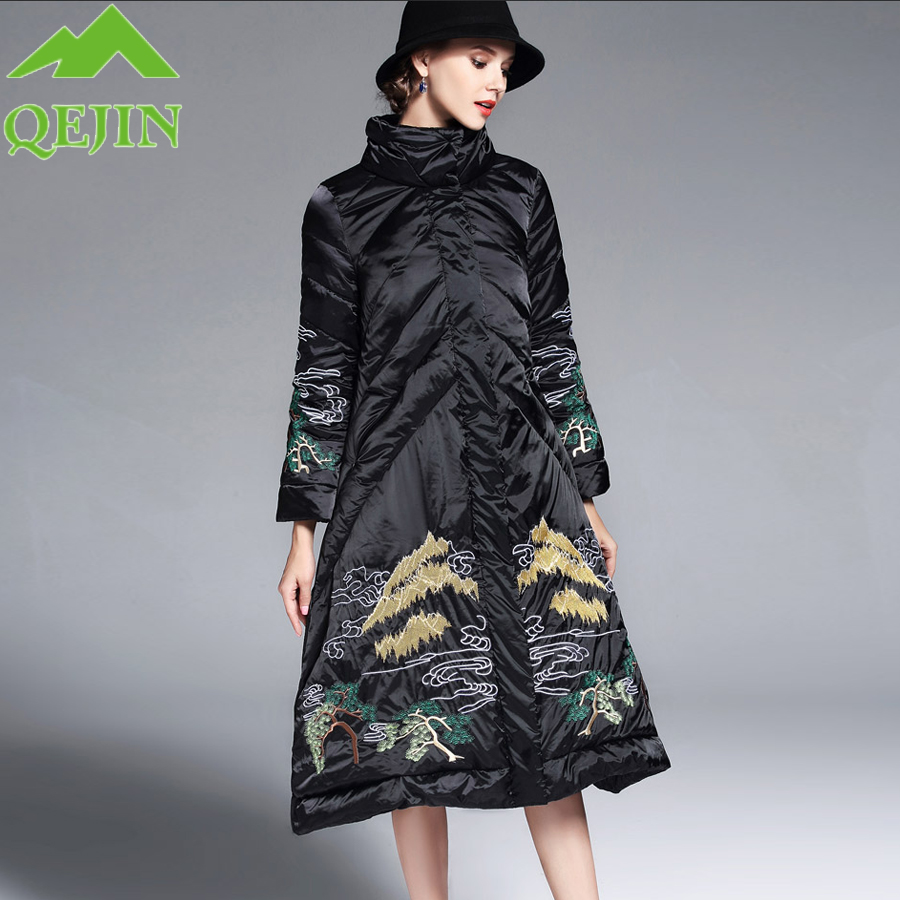 Womens jacket winter down coat flower Embroidered down jackets female warm parkas thickening collecting hot outerwear A-line