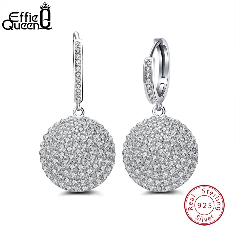 7640fcc74 Effie Queen Round Ball Drop Earrings for Women 925 Sterling Silver Dangle Earring  Micro Pave CZ Zircon Earring 2019 BE42 -in Drop Earrings from Jewelry ...