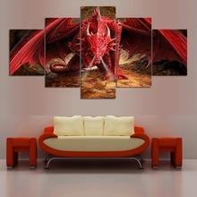 5 pcs,Full Square 5D DIY Diamond Painting Red Dragon Full diamond Embroidery Cross Stitch Rhinestones Y2469