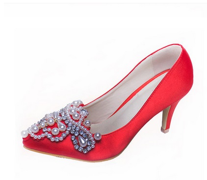 ФОТО Red chinese style high-heeled bridal shoes single shoes female small 31 32 33 plus size 40 41 42 43 pearl wedding shoes