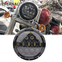 75W offroad led motorcycle headlight 7inch round headlamp for Wrangler Rubicon offroad Harley Dyna DUCATI Monster KAWASAKI