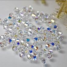 купить 5328 4MM 6mm 8mm 10mm clear crystal AB color crystal bicone bead ,For jewelry beading accessories half ab Diy H103 недорого