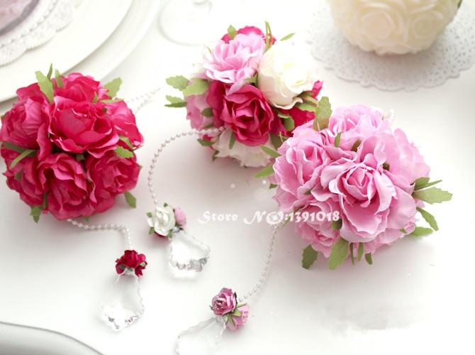 Diy ribbon rose flower ball rose pom poms silk flower diy ribbon rose flower ball rose pom poms silk flower wedding party decor wholesalers artificial hydrangea 10 colors mightylinksfo