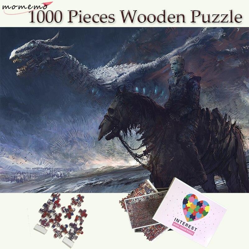 MOMEMO Game of Thrones Puzzles en bois 1000 pièces blanc marcheurs et Dragon adultes 1000 pièces Puzzle adolescents enfants jouets