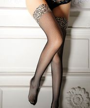 High Quality Mesh Leopard Over Knee Stockings Sexy Fishnet Tights Nightclub Thigh