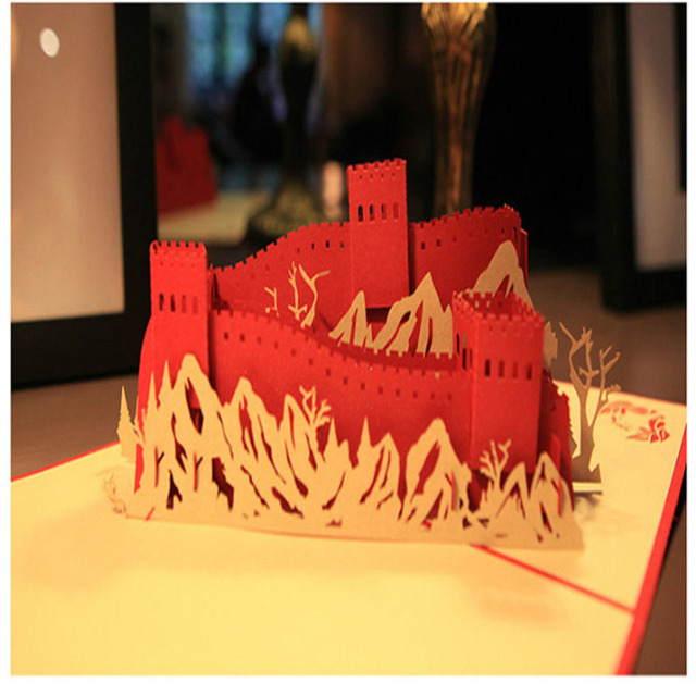 2017 Unique Paper Carving The Great Wall 3D Greeting Card Handmade ...