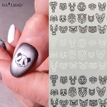 1pc Abstract Animal 3D Nail Art Stickers Folding Lions Nail Sticker Origami Animal Flexagon Adhesive Decals