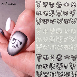 Image 1 - 1pc Abstract Animal 3D Nail Art Stickers Folding Lions Nail Sticker Origami Animal Flexagon Adhesive Decals