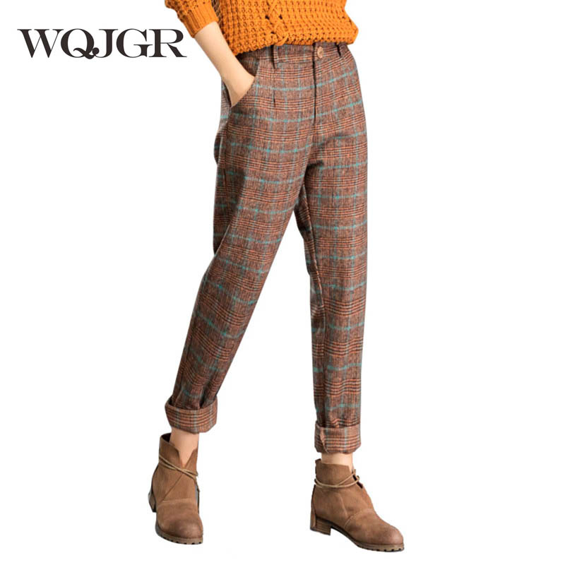 WQJGR Autumn And Winter Woolen Haren Pants Woman Trousers Lattice Fashion Plaid Easy Bound Feet Pants in Pants amp Capris from Women 39 s Clothing