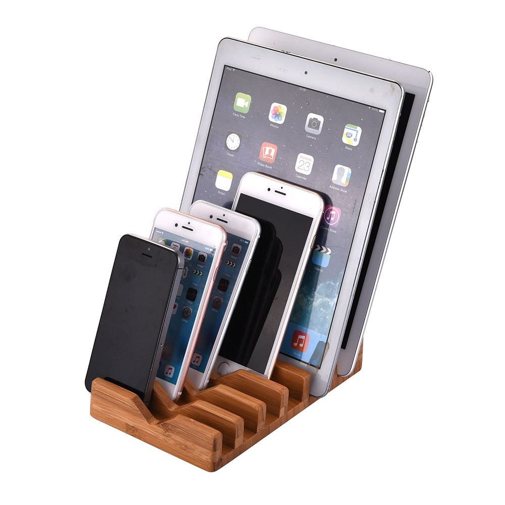 CARPRIE Top Quality 6 Plots Bamboo Wood Multi Device Charging Station Dock Organizer Sta ...