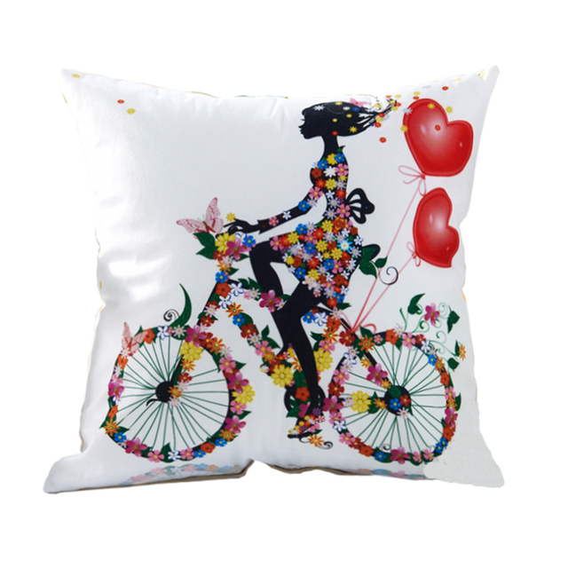 RUBIHOME Decorative Throw Pillows Cushions without Insert Digital Printing  Flower Fairy Bike Butterfly almofadas housse coussin