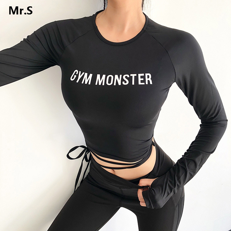 Solid Long Sleeve Yoga Crop Top Gym Shirts for Women Workout Shirts with thumb holes Fitness Running Sport T-Shirts Training Top