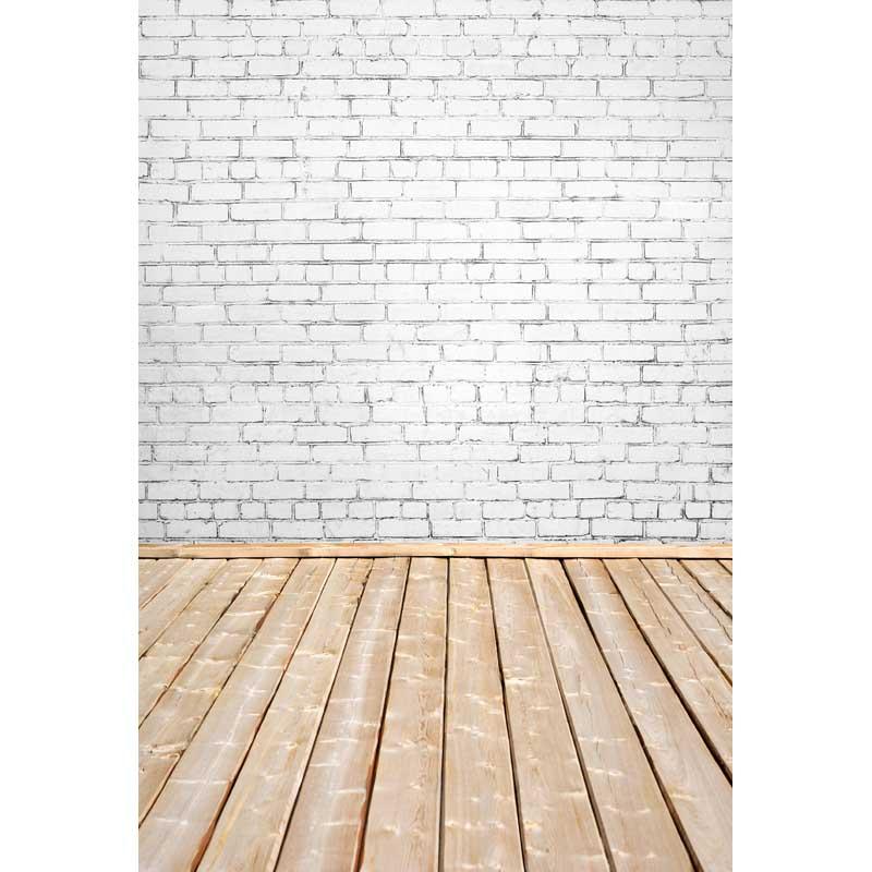 Prix pour Mince de vinyle plancher de bois et blanc briques photographie décors fond photo studio papier peint décoration toile de fond F-2816