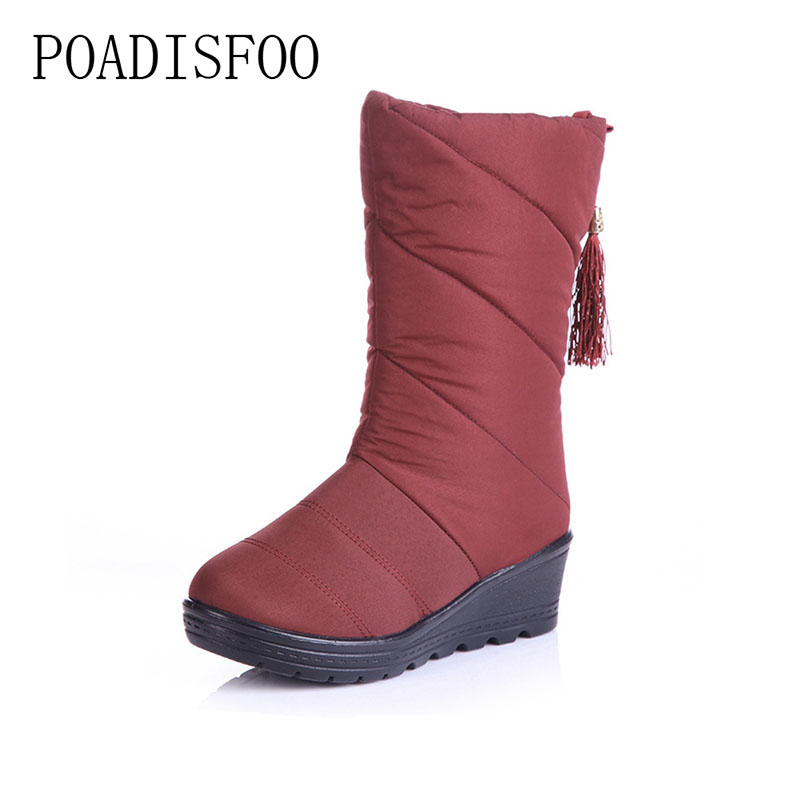 POADISFOO Women Boots Mid-Calf Down Boots Female Waterproof Ladies Snow Boots Girls Winter Shoes Woman Plush Insole Botas .XZ-04 double buckle cross straps mid calf boots