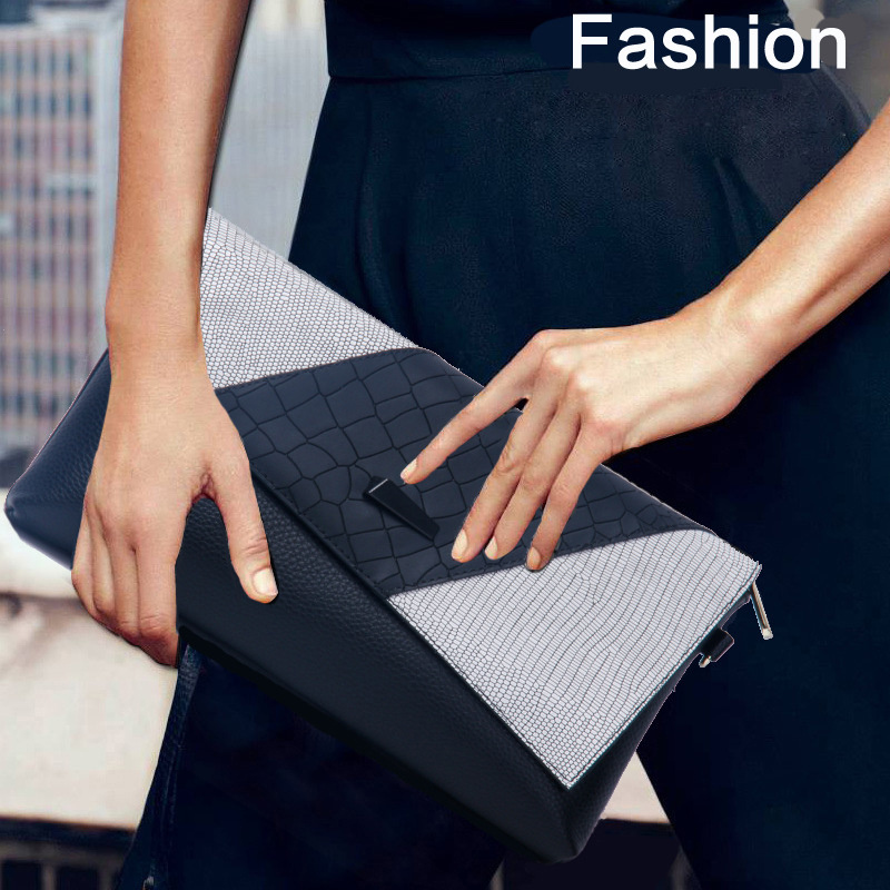 Fashion Crocodile Women Day Clutches Bags Patchwork Genuine Leather Messenger Bags Ladies Envelope Evening Party Bag