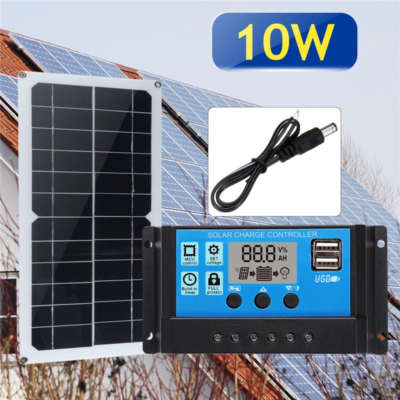 3in1 10W 12V/5V DC USB Solar Panel Kit 10A PWM Multifunction Solar Charger Controller 30cm DC Male Cable diy 5v 2a voltage regulator junction box solar panel charger special kit