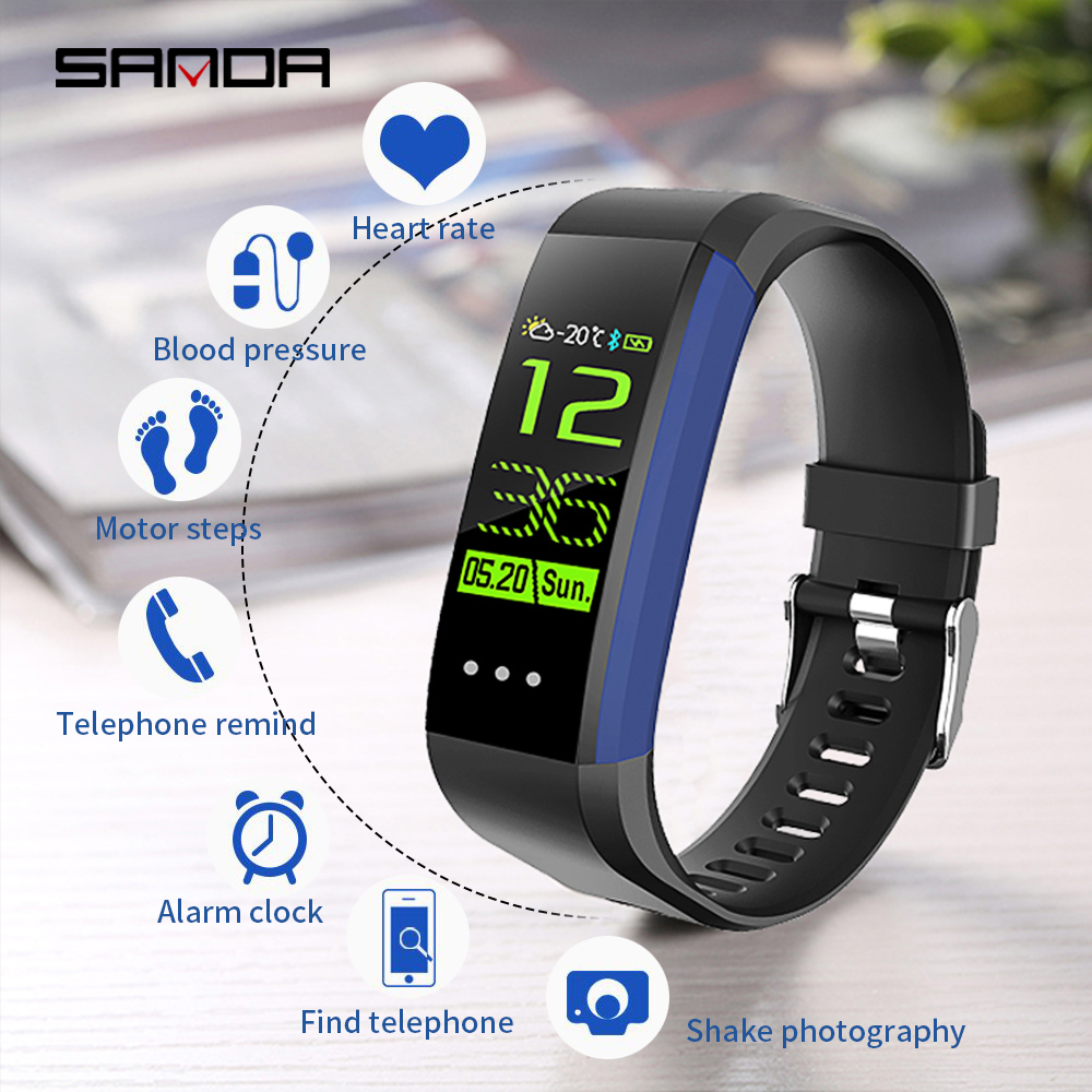 SANDA Bluetooth Smart Watch Men's and Women's Waterproof Smart Bracelet Fitness Tracker Wristband Pedometer for Ios Android e xy wireless bluetooth headset earbuds smart band bluetooth bracelet pedometer fitness tracker watch wristband for android ios