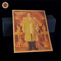 WR 999 Gold Foiled Photo Thailand King Bhumibol Adulyadej Gold Foil Photo Unique Collection for Worth Home Decor