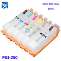 6PCS PGI-250 PGBK CLI251 BK C M Y GY for canon MG6320 MG7120 MG7520 IP8720 refillable ink cartridge with ARC chip pgi250 pgi 250