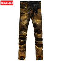 Men S Black Denim With Gold Coated Stretched Slim Straight Pleated Biker Jeans Male Fashion Denim
