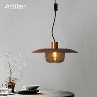Aisilan Modern Nordic style ceiling LED pendant light E14 for corridor bedroom glass shade wooden AC85 260V 4W