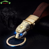 Car Leopard Head Keychain Auto Men Keyring With Led Light For SSANG YONG Vespa SEAT Acura