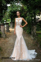 2018 New Arrival Lace Mermaid Wedding Dresses Sexy Illusion Bodices Champagne Button Covered Back Countryside Bridal