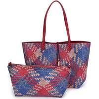 2017 European Fashion Brand Woman Famous Brands Handbags Female Girl Tote Weave Composite Bags Shop Online