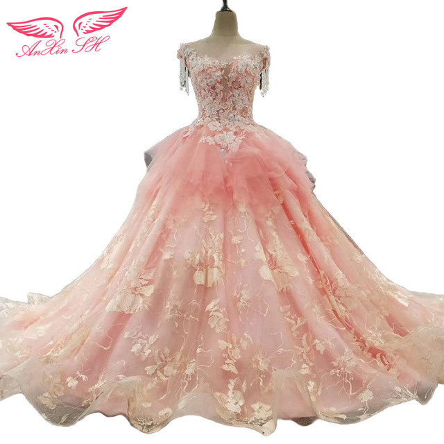 AnXin SH beading rose wedding dress tassel pink wedding dress ...