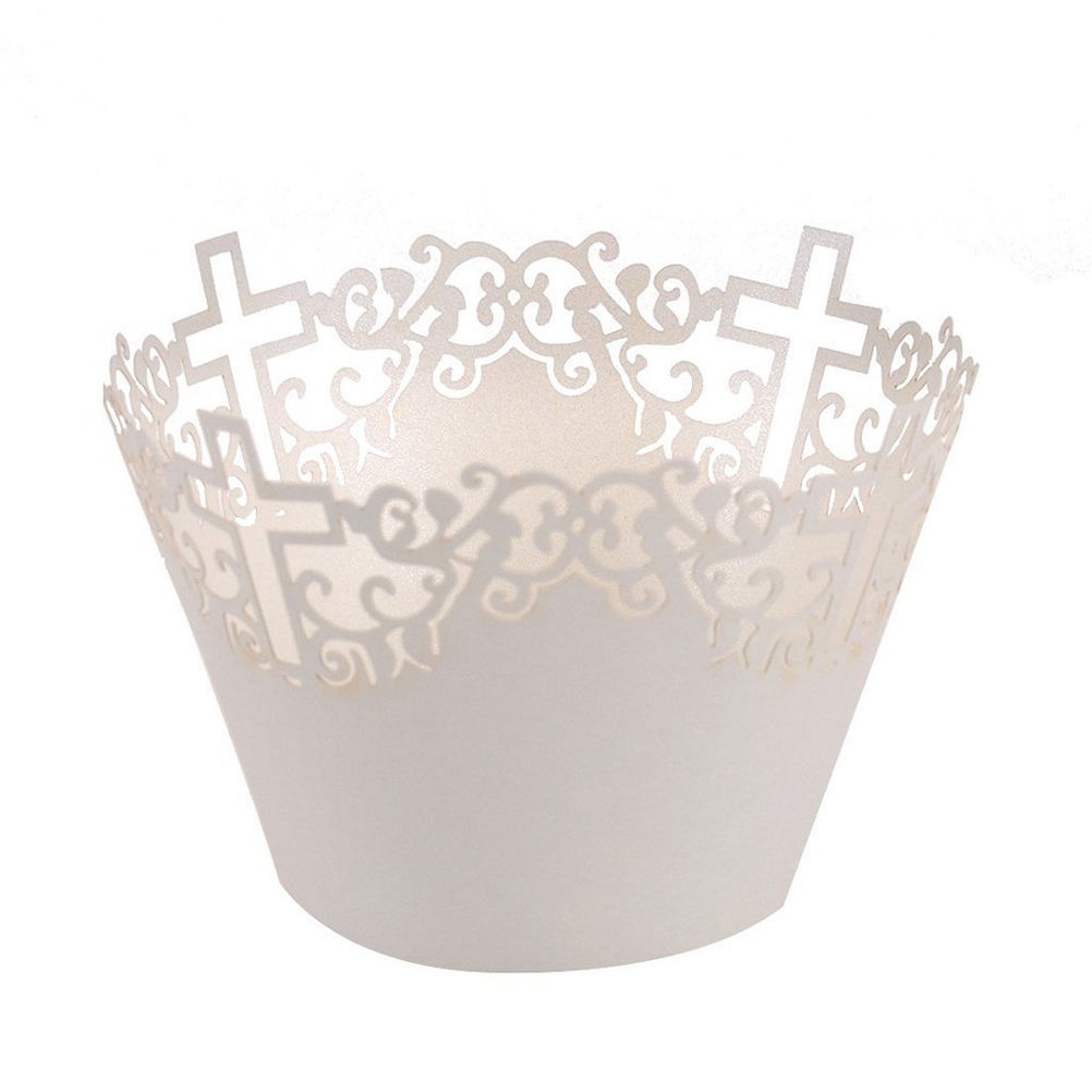 50pcs Filigree Vine Cross Lace Out Paper Cake Cupcake Wrappers Muffin Cases Baking Cup Case Trays Wedding Party Decor (White)