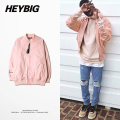 Men Bomber Jacket HK Hot Heybig Windbreaker Hip Hop Lotus root Pink Coats Street Fashion Women China Size 3XL