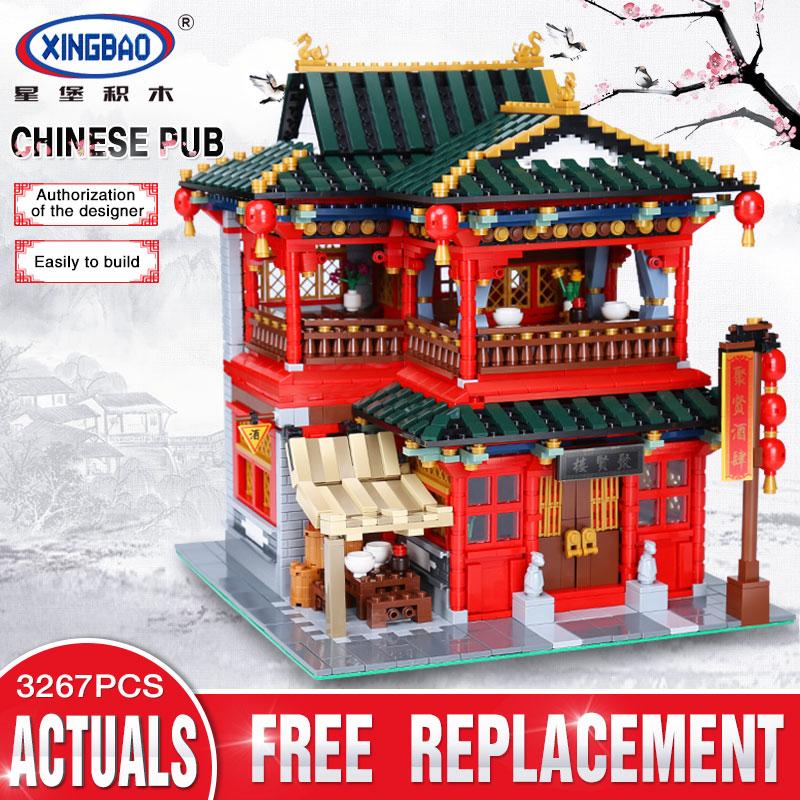 Xingbao 01002 3267Pcs MOC Creative Series The Beautiful Tavern Set Children Education Building Blocks Bricks Boy Toys Model Gift