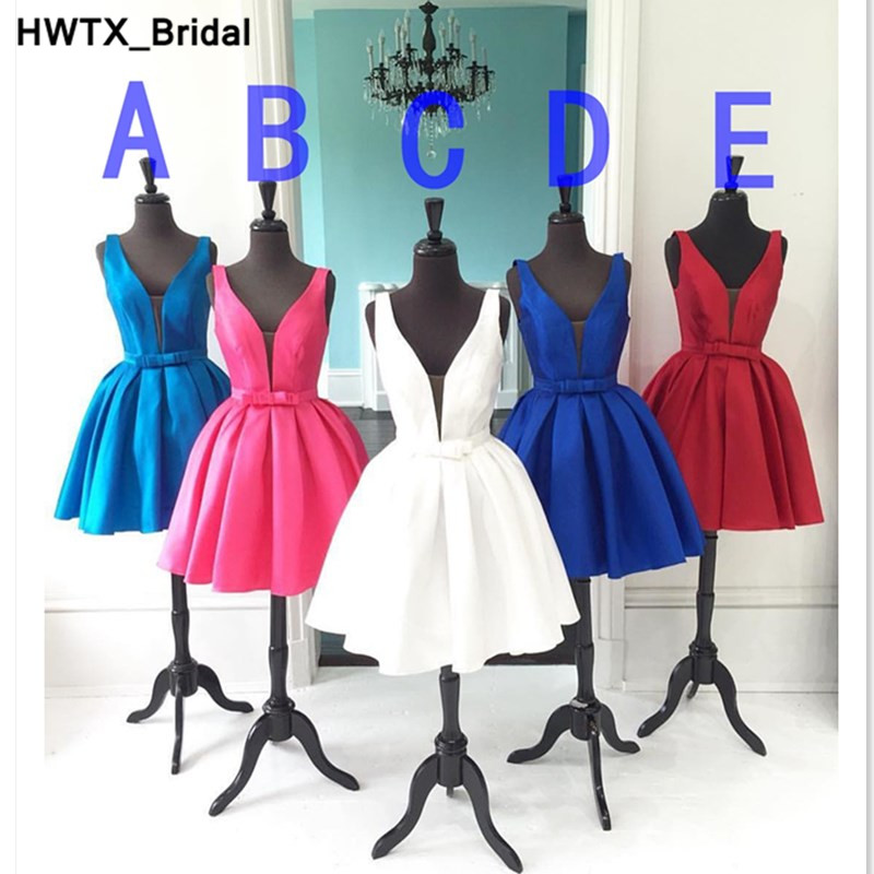 5 Colors Short Bridesmaid Dresses 2018 New Sexy V-neck Satin Wedding Party Gowns Custom Made Short Knee Length Prom Party Gowns