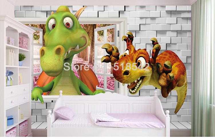 HTB19pmeQXXXXXXeXXXXq6xXFXXXO - Custom Photo Wallpaper 3D Cartoon Cute Dinosaur Brick Wall Children Room Bedroom Background Wall Decor Mural Wallpaper Kids