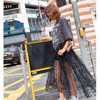 2019 New arrival spring and summer eagle sequins long dresses women chic gauze patch designs dresses
