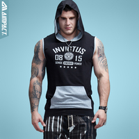 Aimpact Bodybuilding Sleeveless Hoodie Contrast Pocket Fitted Cotton Mens Tank Tops Sleeveless Jacke Sportsuit Casual Male