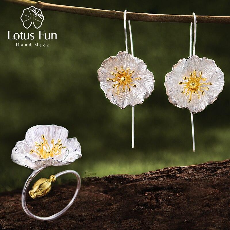 Lótus Divertido Real 925 Sterling Silver Jóia Fina Handmade Papoilas Blooming Flor Conjunto de Jóias para As Mulheres