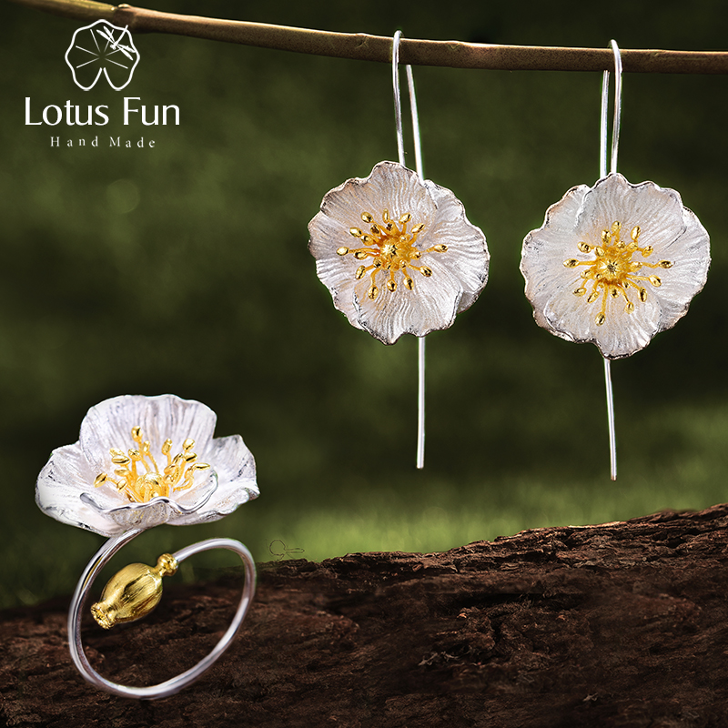 Lotus Fun Real 925 Sterling Silver Handmade Fine Jewelry Blooming Poppies Flower Jewelry Set for Women
