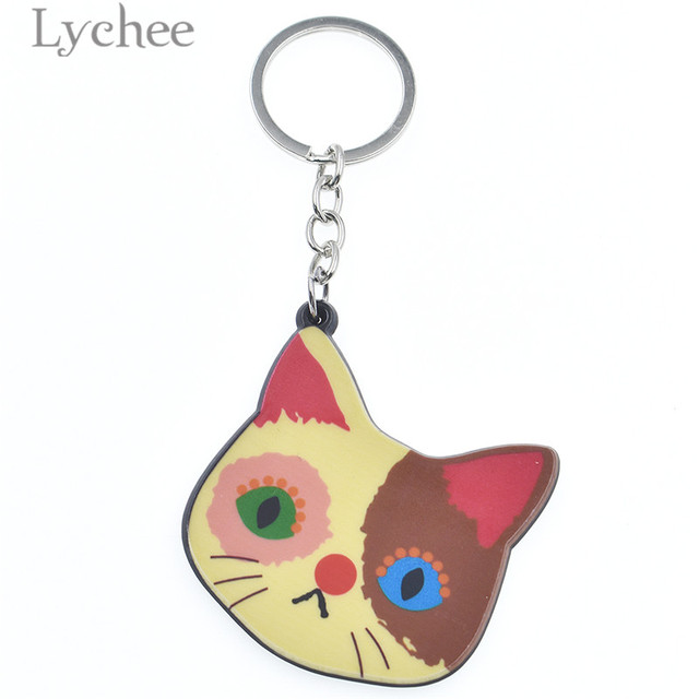 1bb9e8e7d2 Lychee Cartoon Acrylic Cat Keychain Lovely Cute Animal Pattern Key Chains  Trendy Unisex Men Women Key Chain Gifts