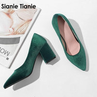 Sianie Tianie velour velvet classic office woman pumps shoes green burgundy black stilettos block high heels women shoes size 43