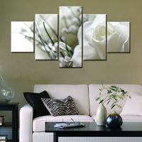 5PSC Set Modular High Quality Flower Picture HD Print White Rose Wall Art Canvas Painting For