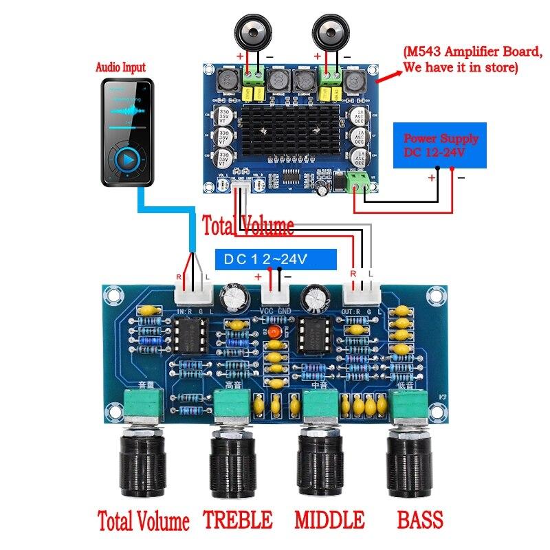 XH-A901 NE5532 Tone Board preamp Pre-amp With treble bass volume adjustment pre-amplifier Tone Controller For amplifier Board machine tool