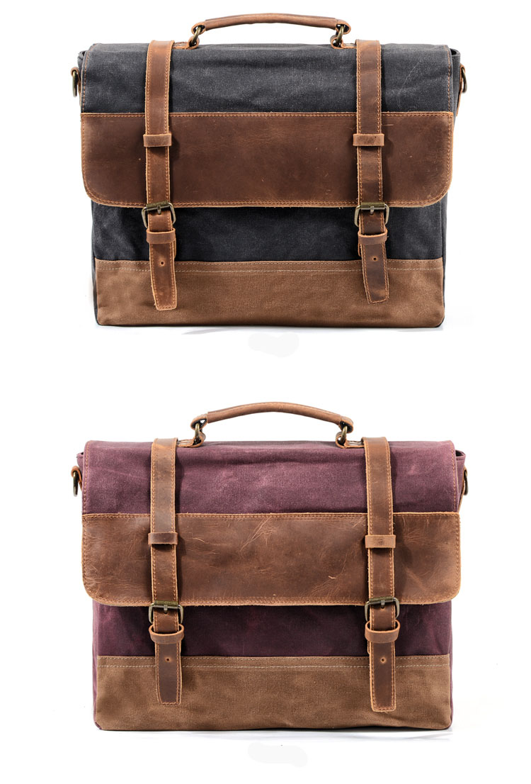 Luxury Mens Briefcase Bag Shoulder Crossbody Bags Canvas   Genuine Leather  Messenger Bag Patchwork Handbag School Tote 183bb5a77dbde