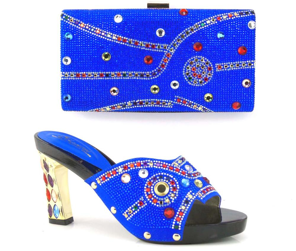 ФОТО Blue Shoes and Bag To Match Italian African Wedding Shoe and Bag Sets with Rhinestone Women Shoes and Bag To Match for Parties