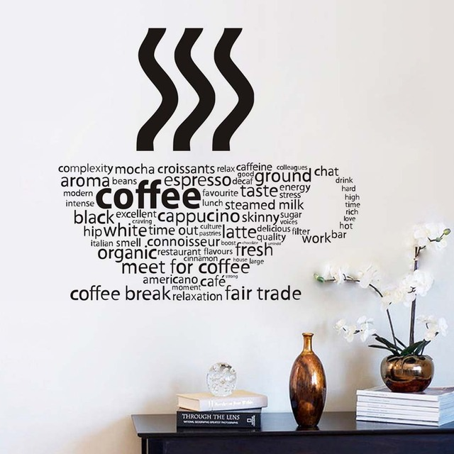 Lovely All Kind Letters Coffee Wall Sticker Coffee Cup Shop Restaurant Wall Decor  Decals Home Decorations Kitchen